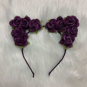Purple Roses Cat Ears Flower Crown